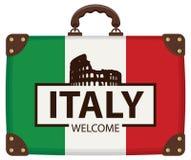 Koffer in den Farben der italienischen Flagge vektor abbildung