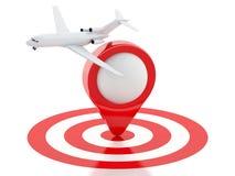 Koffer der Reise 3d, Flugzeug und Kartenzeiger im roten Ziel Stockbild
