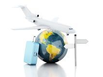 Koffer der Reise 3d, Flugzeug und Weltkugel kleines Auto auf Dublin-Stadtkarte Stockfotografie