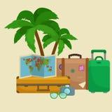 Koffer der reisenden Tasche für Reise oder Berufung, Tourismusikonengepäck für Reise, Vektorillustration Sommerberufungen lizenzfreie abbildung
