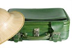 Koffer en Safari Hat stock afbeeldingen