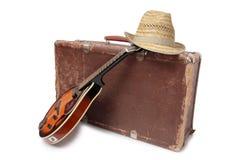 Koffer en oude mandoline drie Royalty-vrije Stock Afbeelding