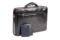 Koffer en paspoorten Stock Foto