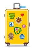 Koffer für Reise mit Aufklebern Lizenzfreies Stockbild