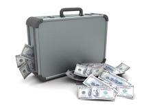 Koffer met geld Royalty-vrije Stock Foto's