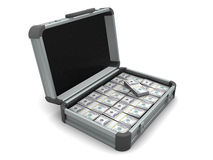 Koffer met geld Stock Afbeelding