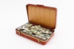 Koffer met geld Stock Foto
