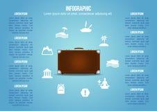Koffer met soort vakantiepictogrammen Royalty-vrije Stock Fotografie