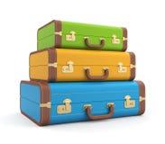 Koffer mit drei Weinlesen Stockbild