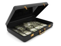 Koffer mit Geld Lizenzfreie Stockbilder
