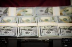 Koffer mit Satz Dollar Stockfotografie