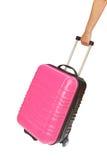 Koffer und Hand lokalisiert auf weißem Hintergrund Stockfotos