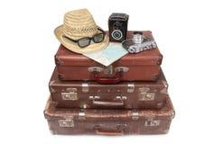 Koffer und Retro- Kamera zehn Lizenzfreies Stockfoto