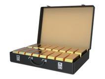Koffer voll Goldbarren 3D Stockbilder