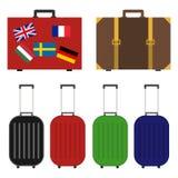 Koffer voor reis, een reeks koffers voor reis, een koffer met vlaggen stock illustratie