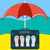 Koffer, zum mit Pantoffeln zu reisen stock abbildung