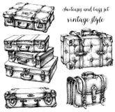 Koffers en zakken Stock Foto's