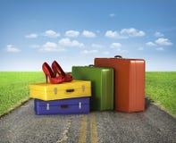 Koffers met rood Stock Fotografie