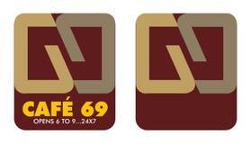 Koffie 6 tot 9 van het embleem Stock Afbeeldingen