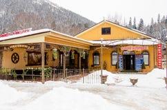 Koffie Alibek, in de kleine stad van Dombay wordt gevestigd die Stock Afbeelding