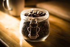 Koffie Bean Jar Stock Foto's