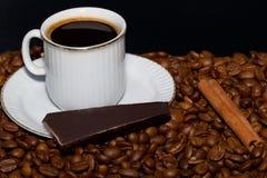Koffie, chocolade en kaneel. Royalty-vrije Stock Afbeelding