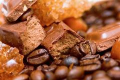Koffie, chocolade en noten Stock Afbeelding