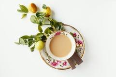 Koffie, chocolade en vruchten Stock Fotografie