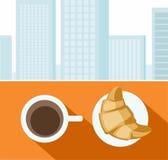 Koffie, croissant, ochtend, Ontbijt, stad, kleurenillustraties Royalty-vrije Stock Fotografie