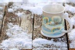 Koffie in de Sneeuw Royalty-vrije Stock Foto