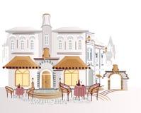 Koffie in de stad royalty-vrije illustratie