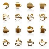 Koffie. De vector reeks van het embleemmalplaatje. Stock Foto's