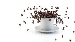 Koffie die in kop vallen stock video