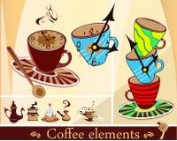 Koffie die met koppen wordt geplaatst stock illustratie