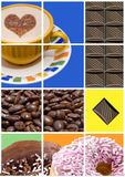 Koffie, donuts en Chocolade Royalty-vrije Stock Afbeeldingen