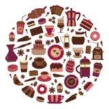 Koffie en Bakkerijpictogramreeks Stock Foto's