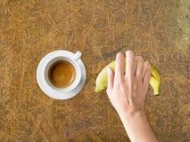 Koffie en banaandieetmaaltijd Stock Foto
