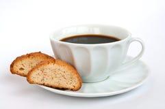 Koffie en biscotti Stock Fotografie