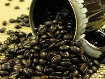 Koffie en bonen royalty-vrije stock foto's