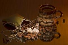 Koffie en bruine suiker Royalty-vrije Stock Fotografie