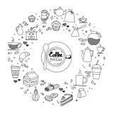Koffie en cake de tijdkrabbels overhandigen de getrokken schetsmatige vectorvoorwerpen van pictogramsymbolen Stock Afbeeldingen