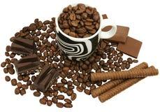 Koffie en chocolade Stock Fotografie