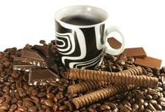 Koffie en chocolade Stock Foto's