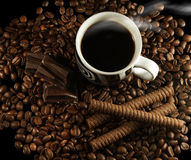 Koffie en chocolade Stock Foto