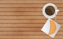Koffie en Croissant Royalty-vrije Stock Foto's