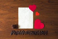 Koffie en de dag van Valentine Royalty-vrije Stock Foto
