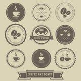 Koffie en Doughnutetiketontwerp stock illustratie
