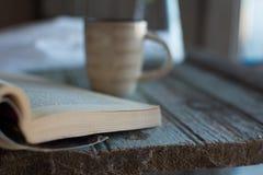 Koffie en een boek en houseplant royalty-vrije stock foto's