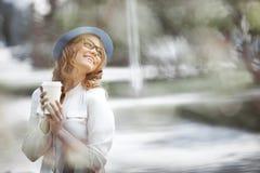Koffie en geluk Stock Foto