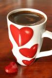 Koffie en harten Stock Foto's
